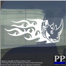 Rhino Flame-Adhesive Vinyl Sticker-Car Window Graphic Decal Sign Animal,Horn,Zoo